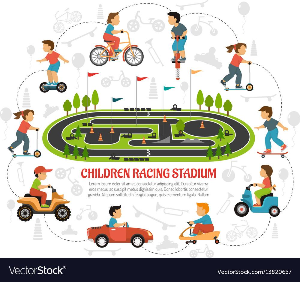 Children racing stadium composition vector image