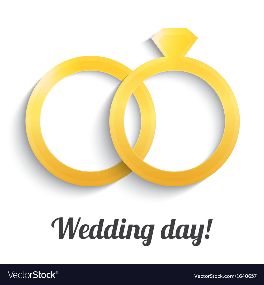 Wedding gold rings with diamond Wedding day icon Vector Image
