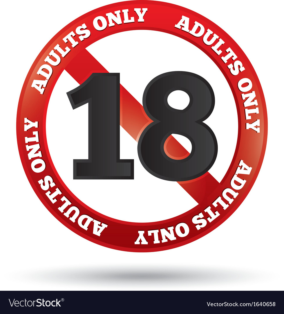 Adults only content sign age limit icon vector image
