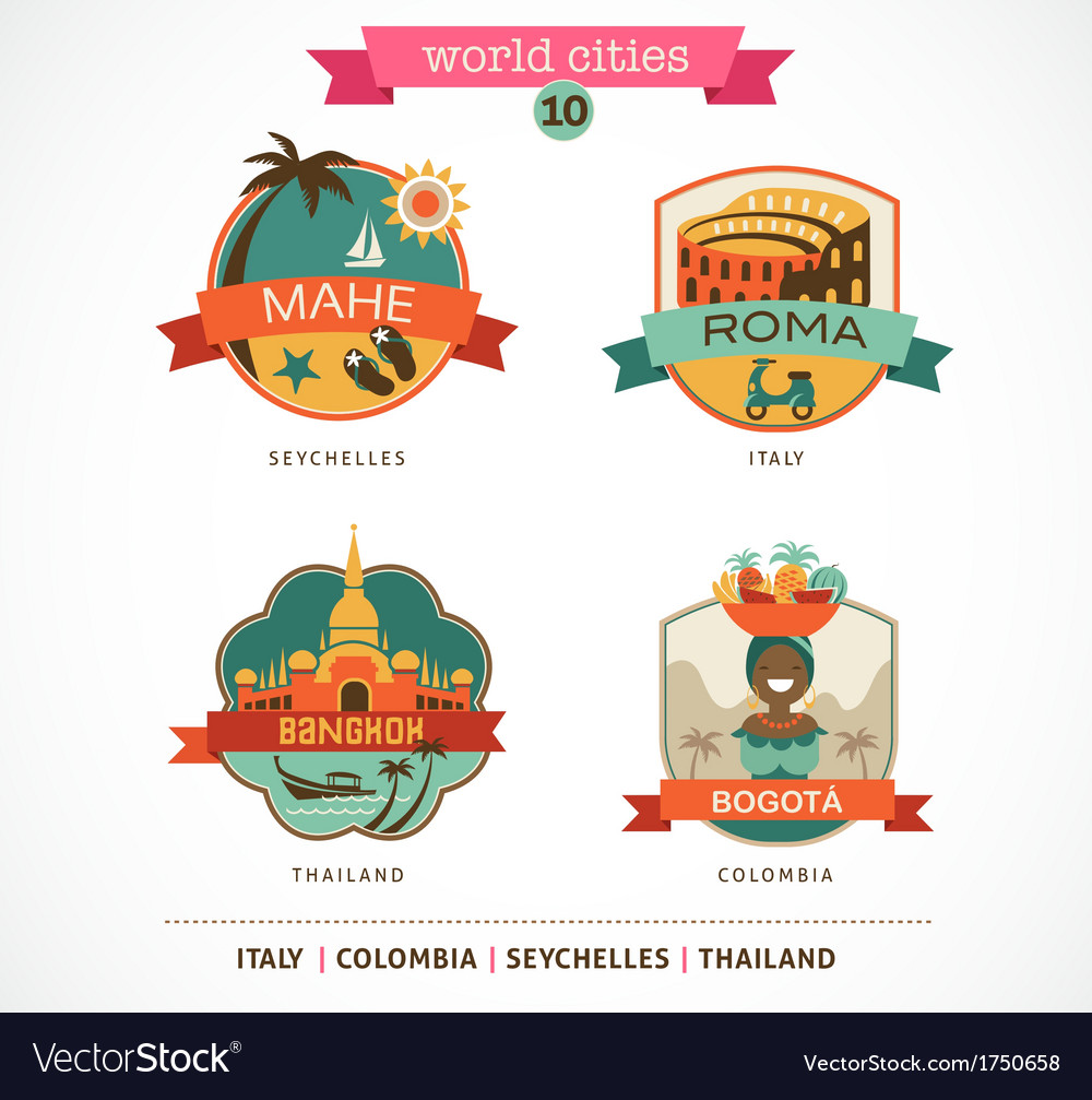 World Cities labels - Mahe Roma Bangkok Bogota vector image
