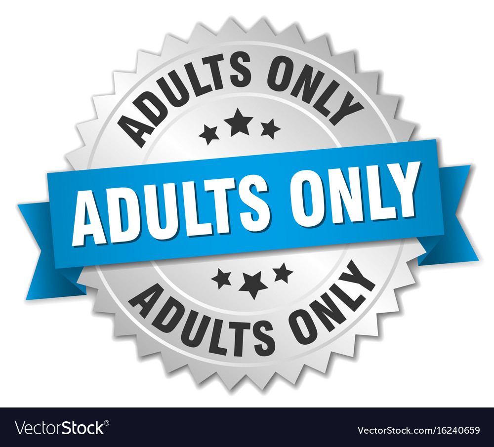Adults only round isolated silver badge vector image