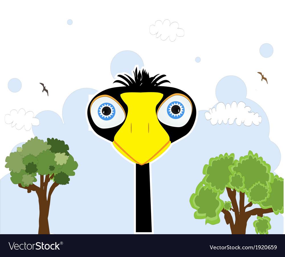 Cartoon black bird vector image