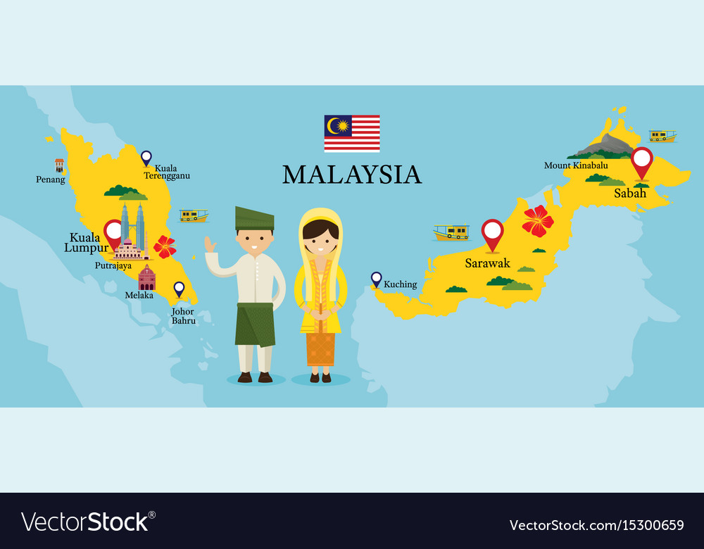 Malaysia map and landmarks with people in Vector Image