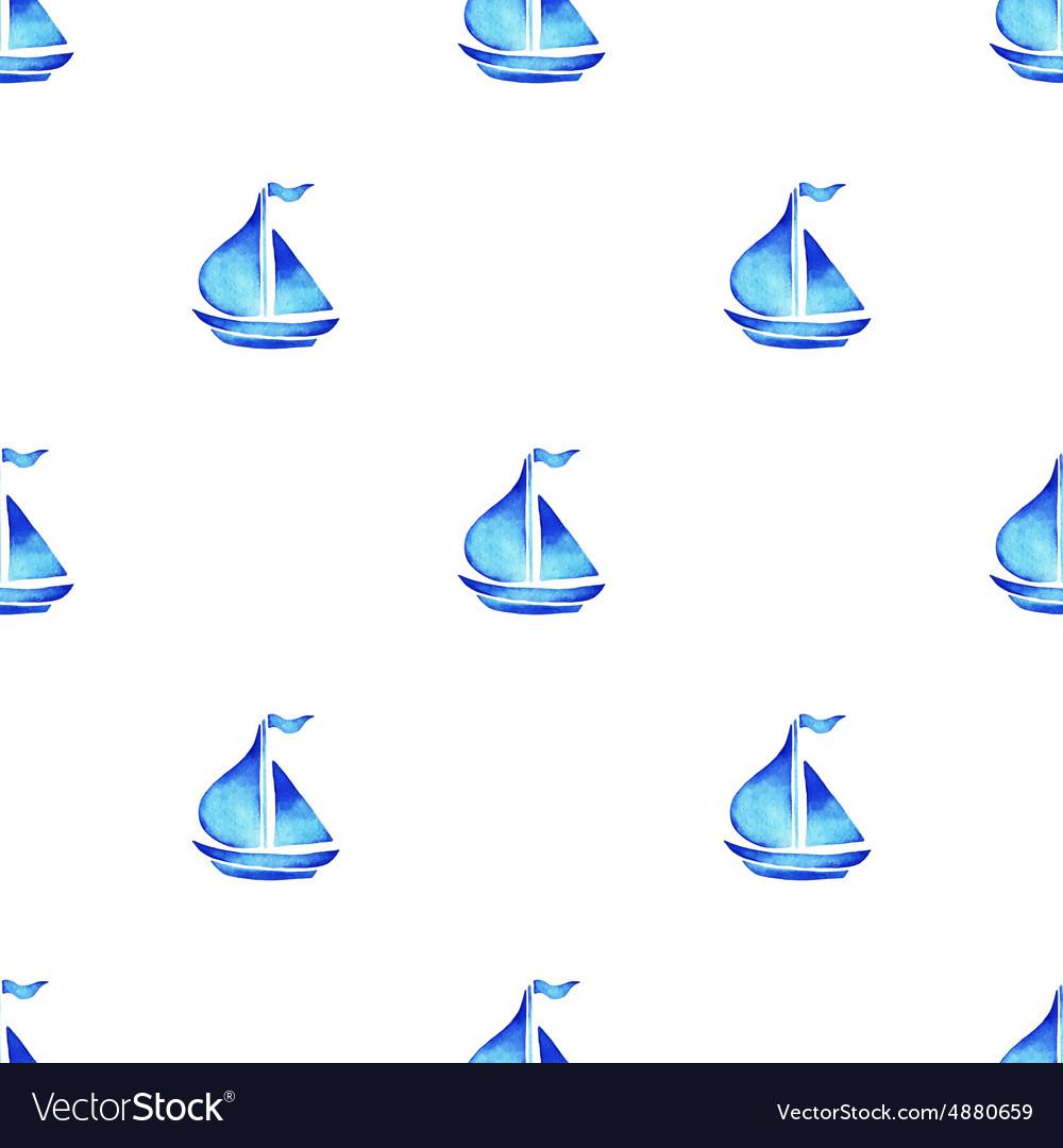 Watercolor sea ship pattern vector image