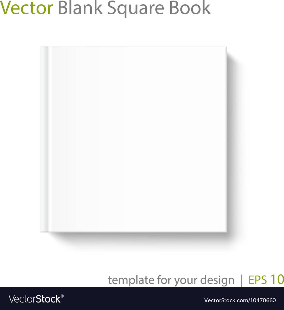 Blank Book Cover Vector Template : Blank square book cover template on white vector image