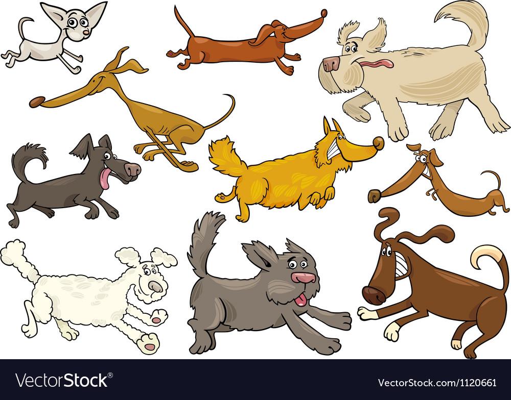 Cartoon playful running dogs set vector image