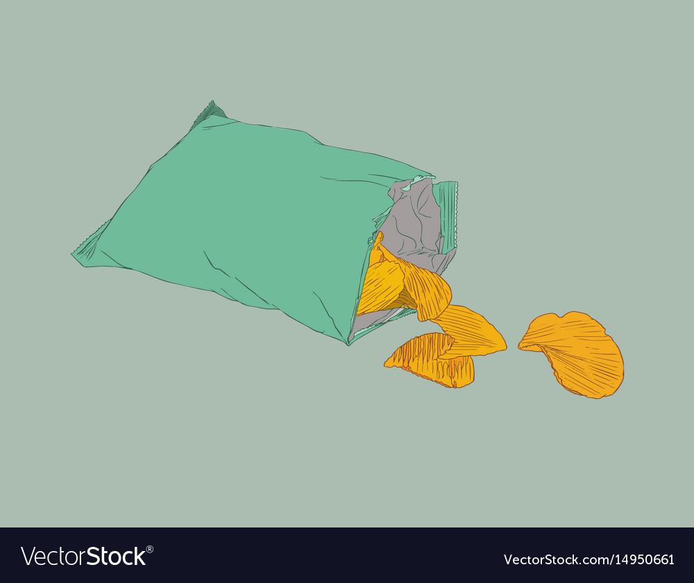 Potato chips packaging bag of chip sketch vector image