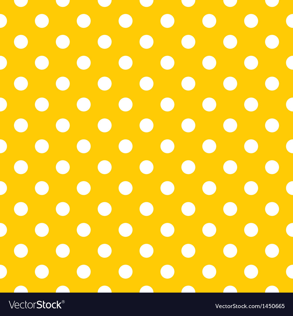 Seamless pattern white polka dot yellow background vector image