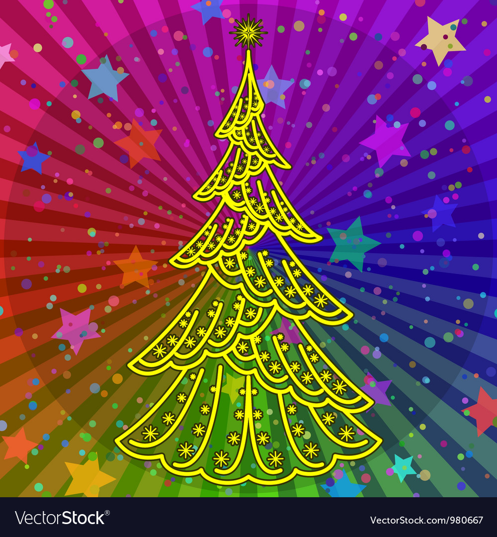 Rainbow Christmas Trees: Christmas Tree On Rainbow Background Royalty Free Vector