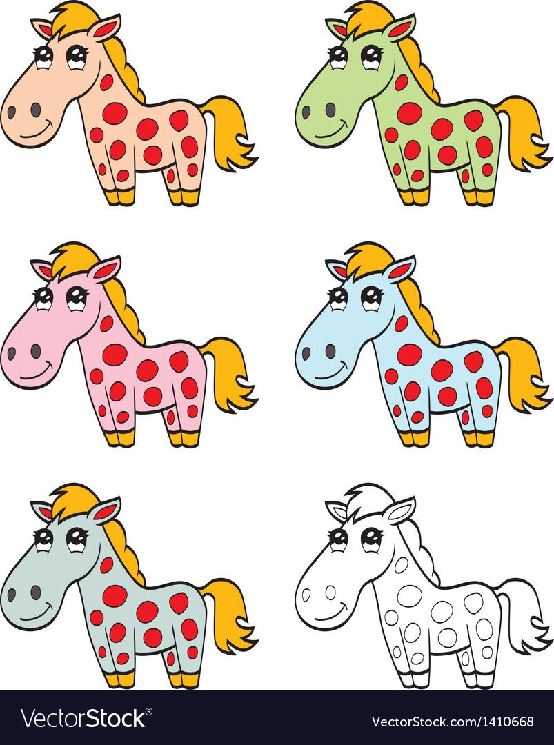 Cute cartoon horse vector image