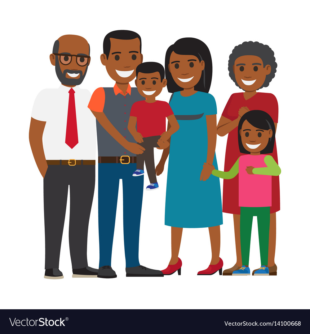 Tree generations of family together flat vector image