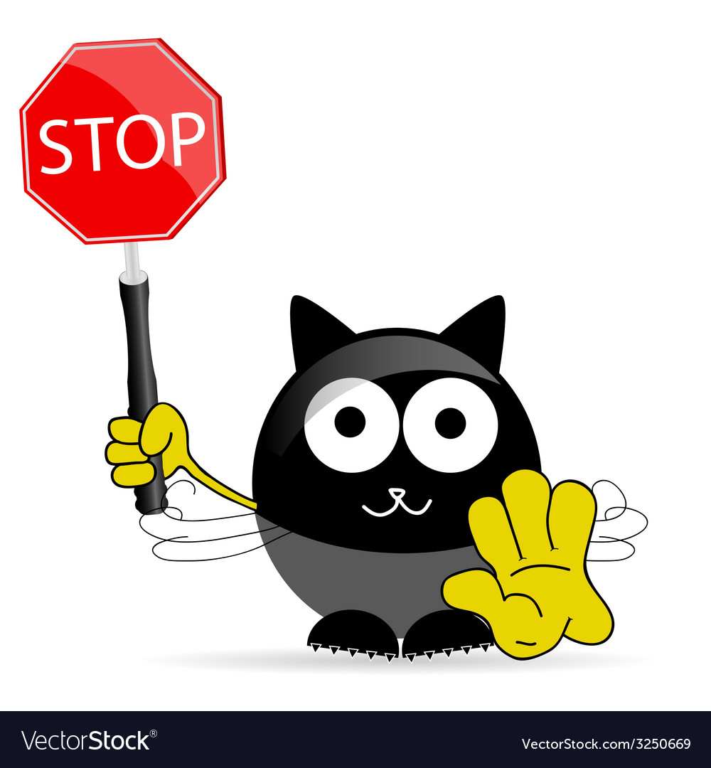 Sweet and cute cat with sign stop vector image
