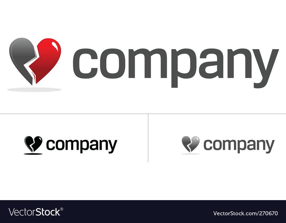 Broken heart logo vector image