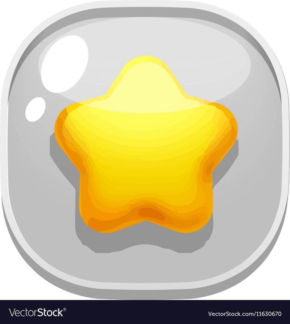 Button glass for mobile games favorites star vector image