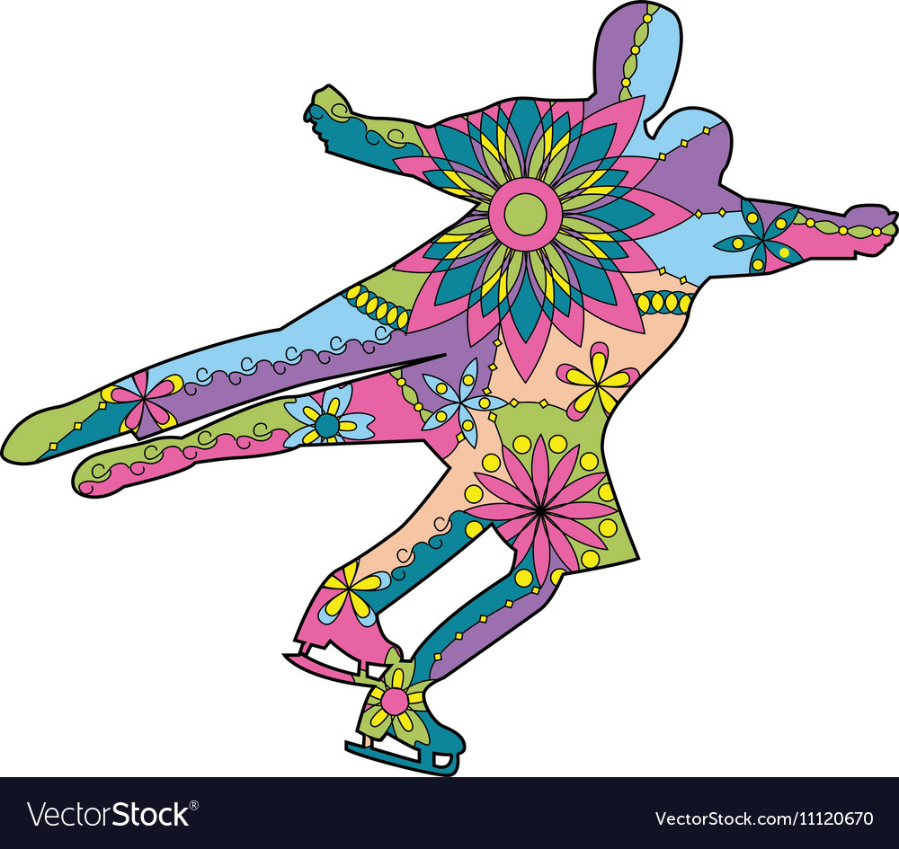 Figure skating colroful vector image
