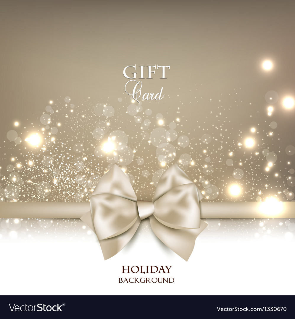 Gorgeous gift card with white bow and copy space vector image