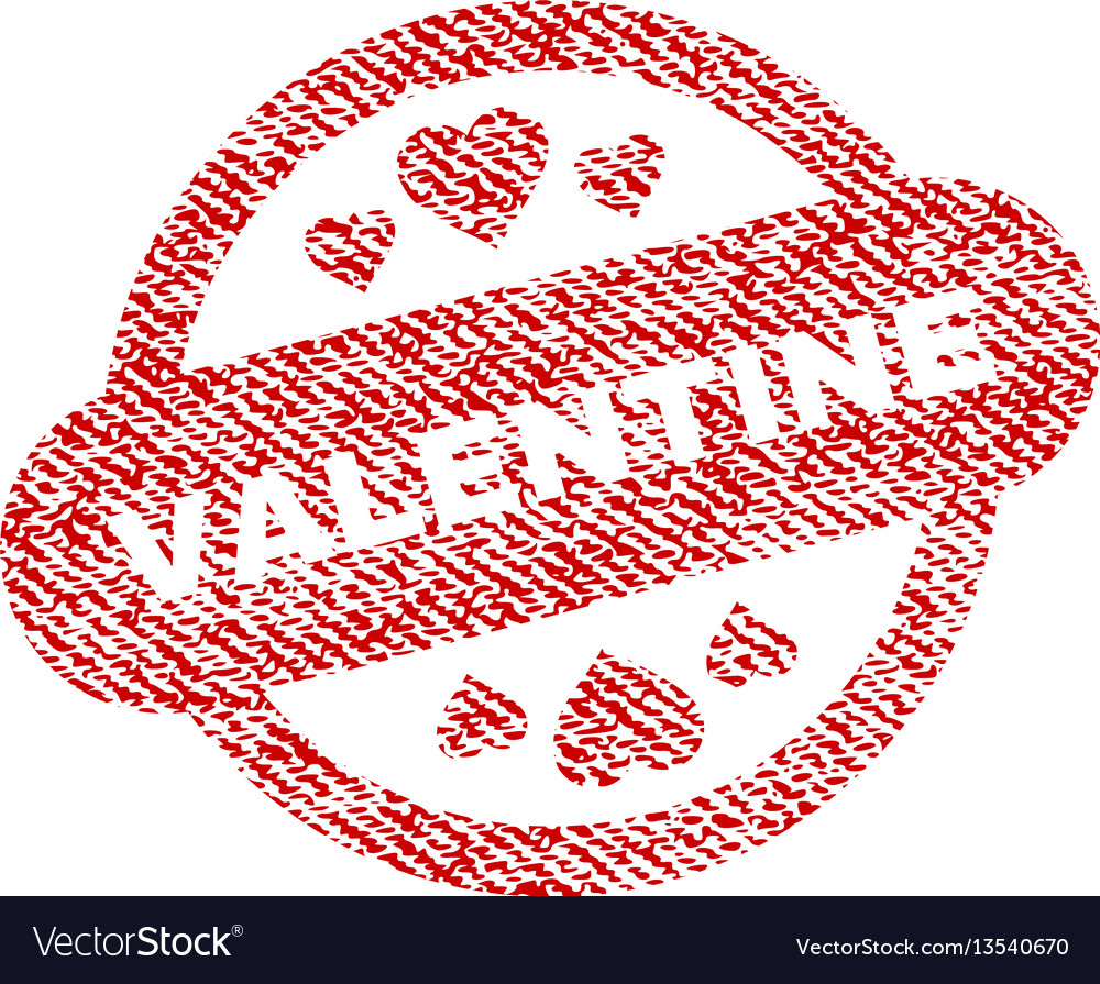 Valentine stamp seal fabric textured icon vector image