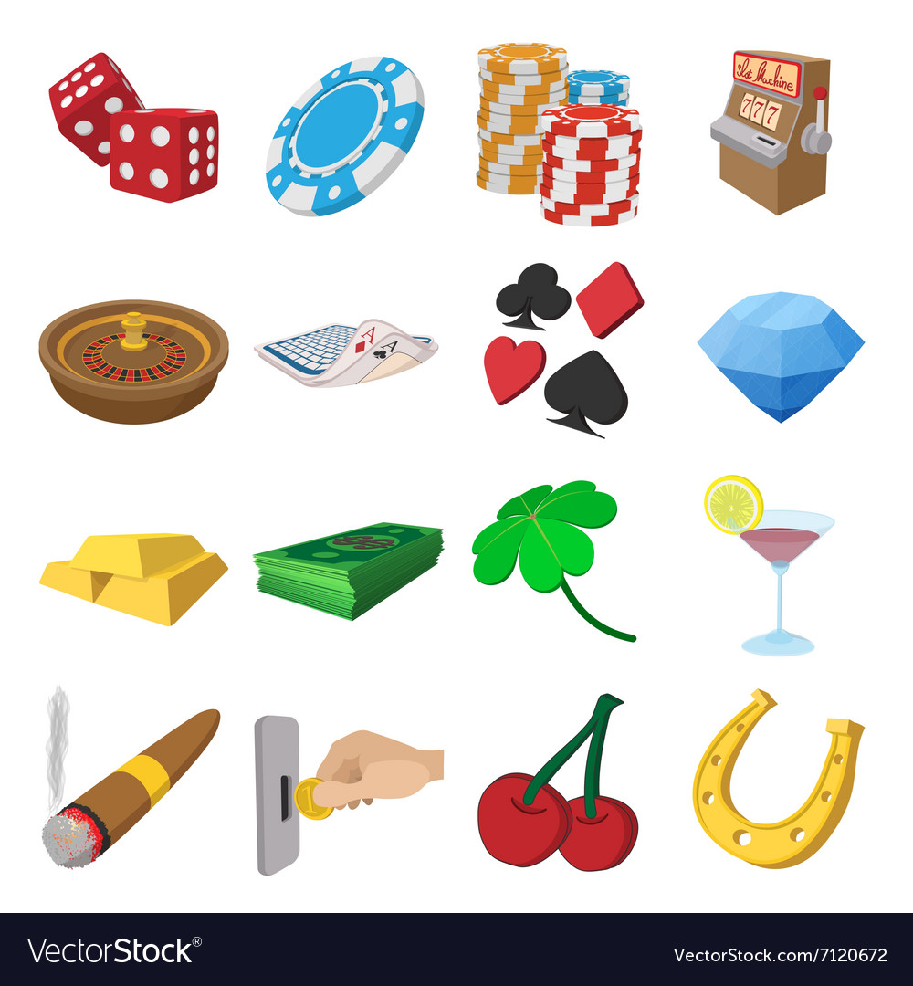 Casino cartoon icons set vector image