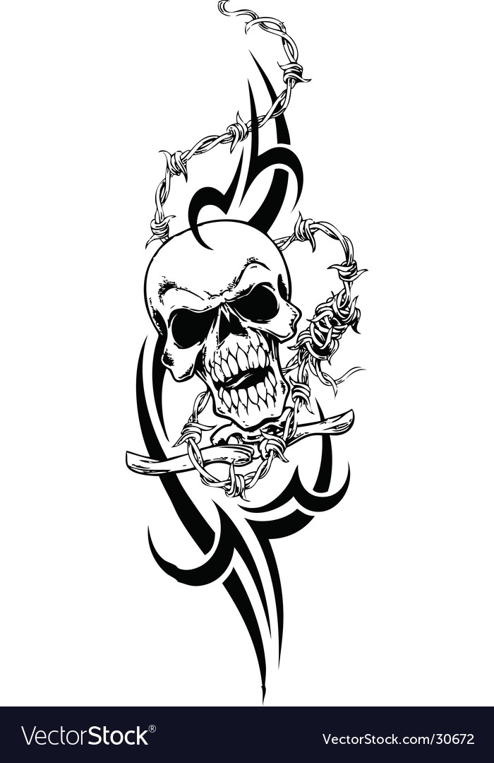 Tribal skull design vector image