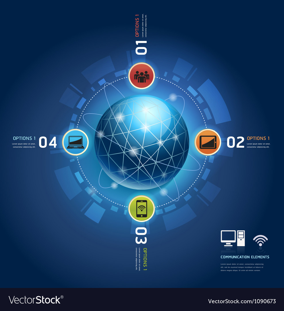 Global internet communication with orbits Vector Image