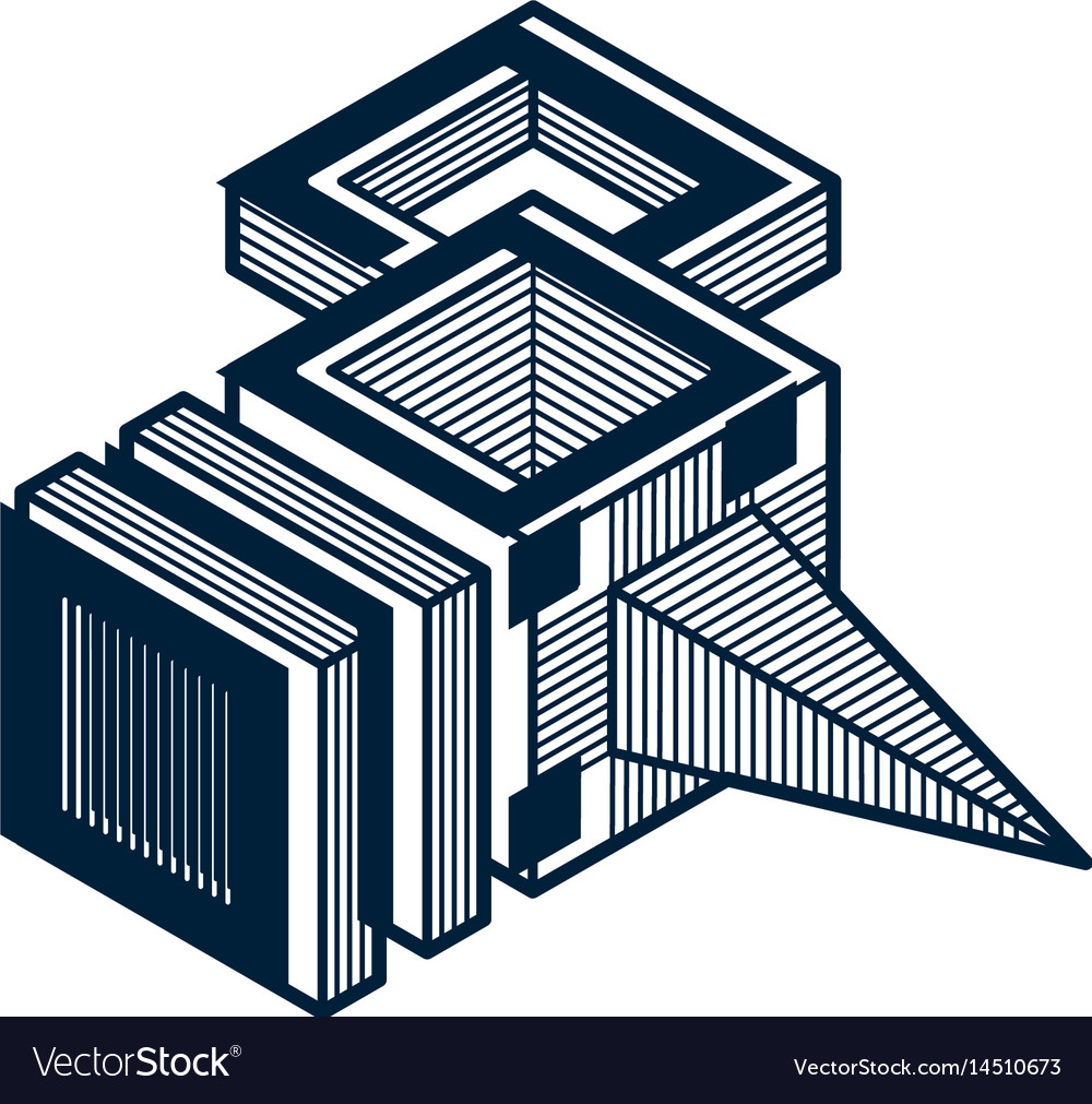 3d abstract isometric construction polygonal shape vector image