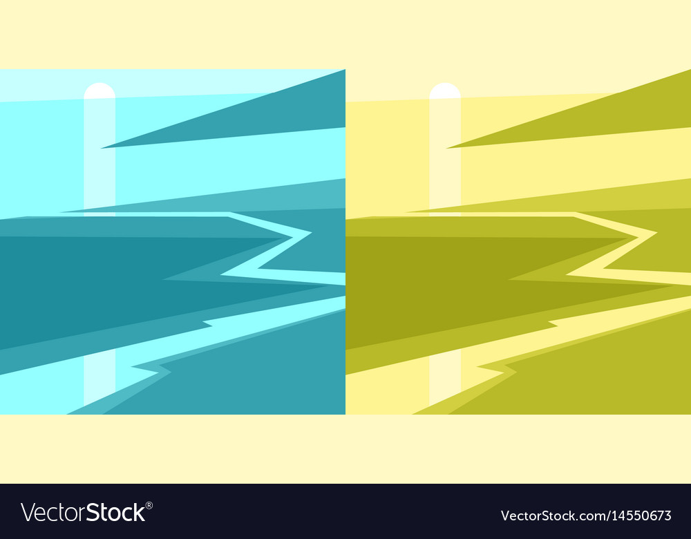 Set of modern posters of sunset on beach vector image