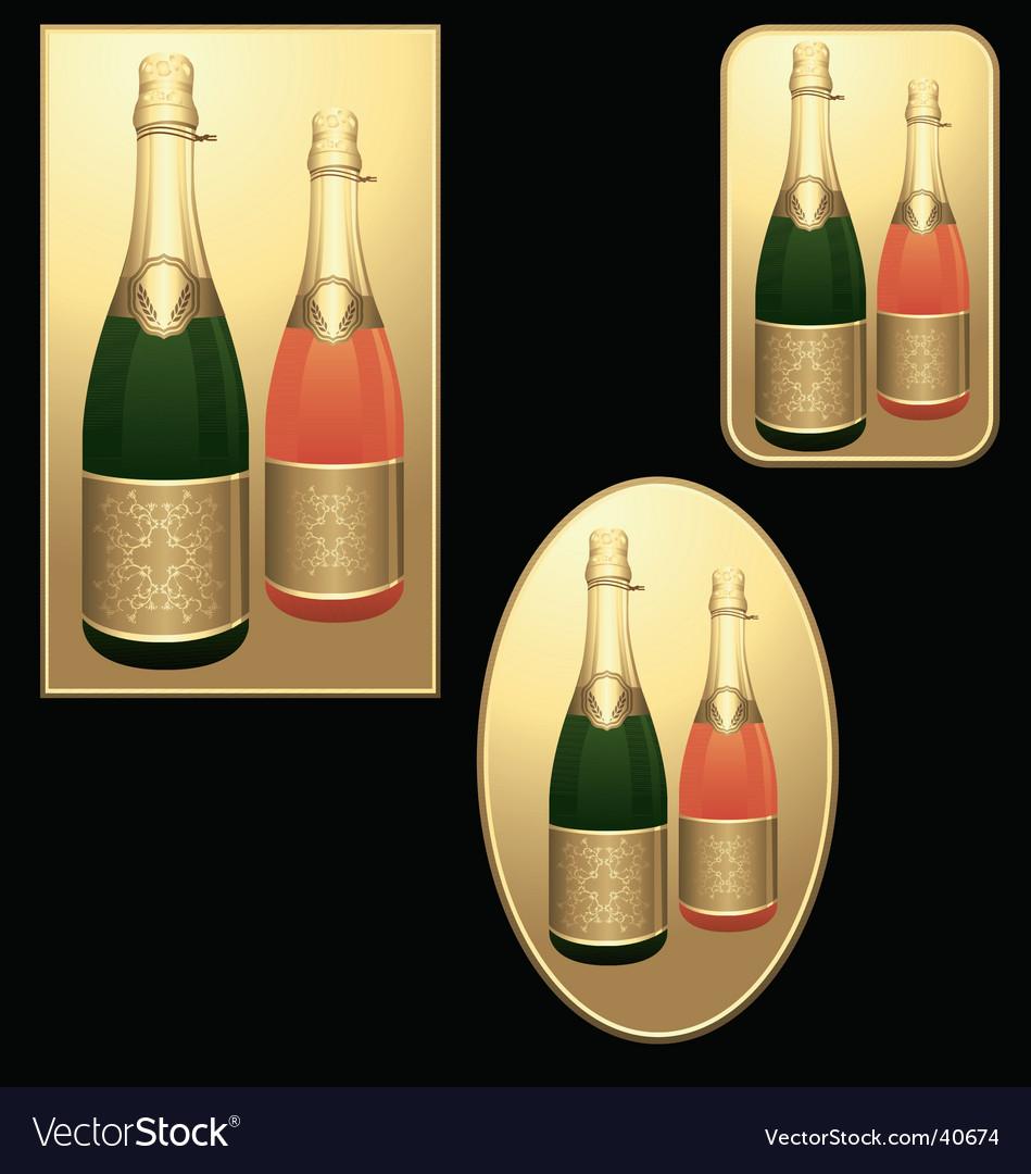 Champagne bottles badges vector image