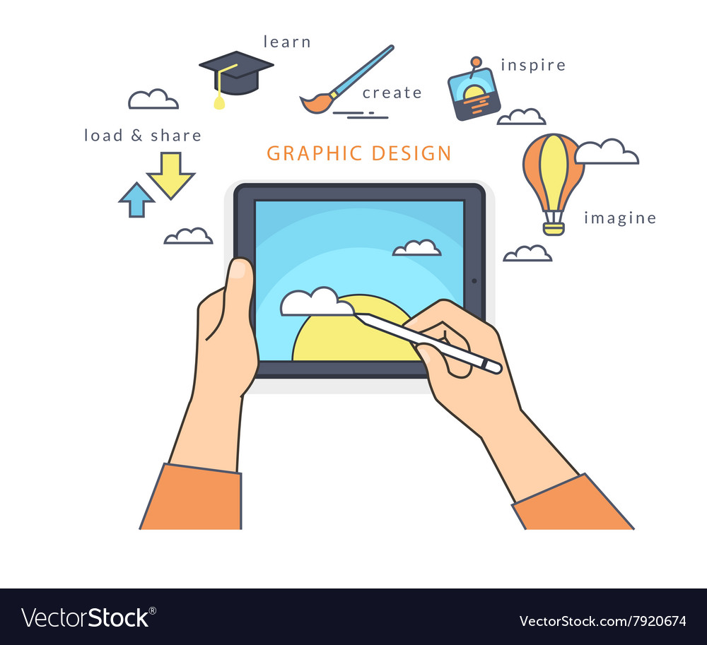 Human hand holds a tablet pc and draws a picture vector image