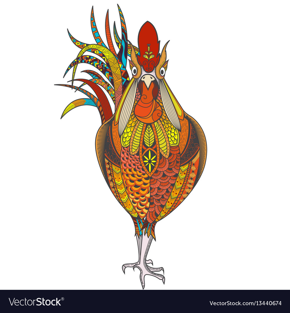 Poster with zenart patterned rooster vector image