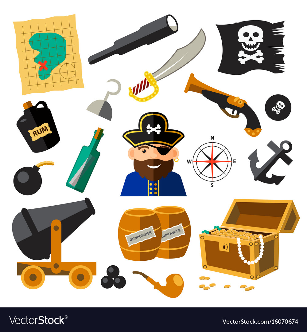 Set of pirate and sea elements vector image