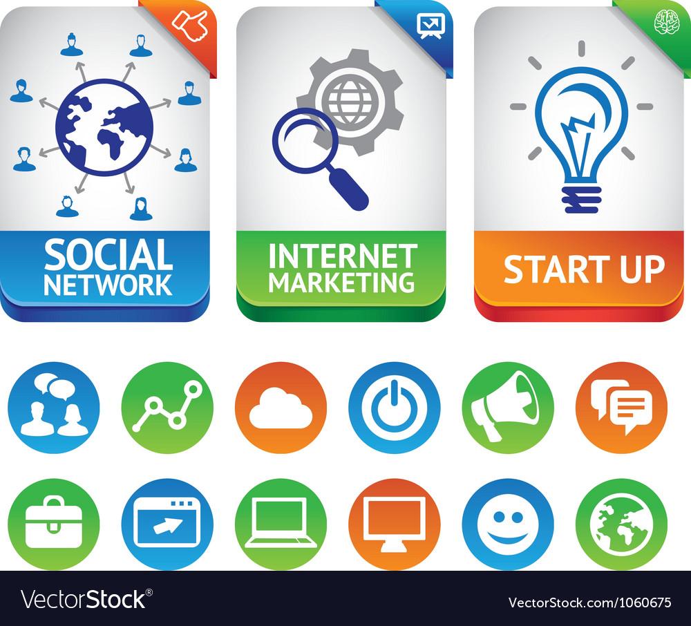 Internet marketing labels vector image