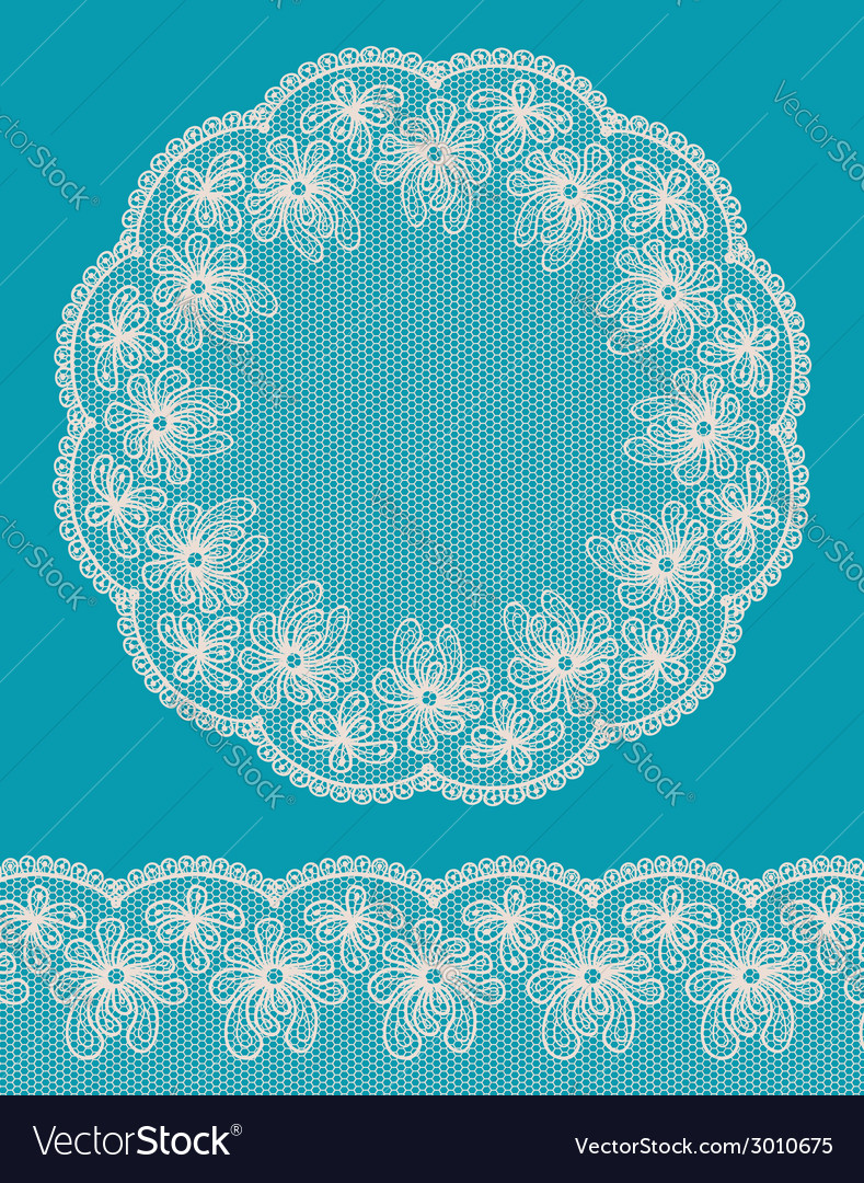 Round lacy frame on blue background vector image