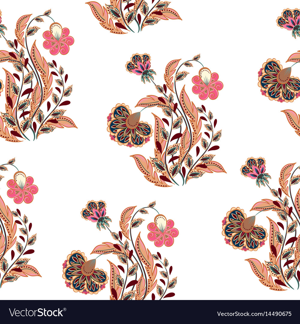 Seamless hand drawing flowers in vector image