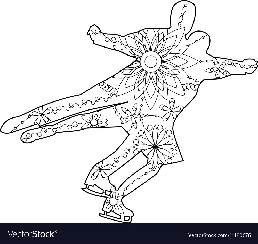 Figure skating coloring vector image