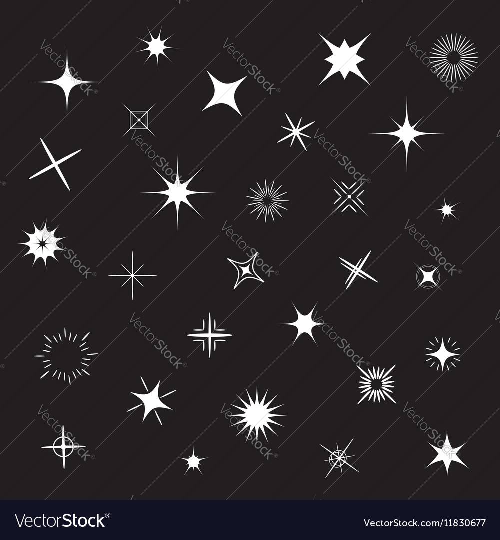 Stars Sparkles white symbol set Black background vector image