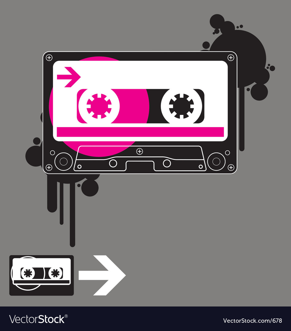 Audio tape old school vector image