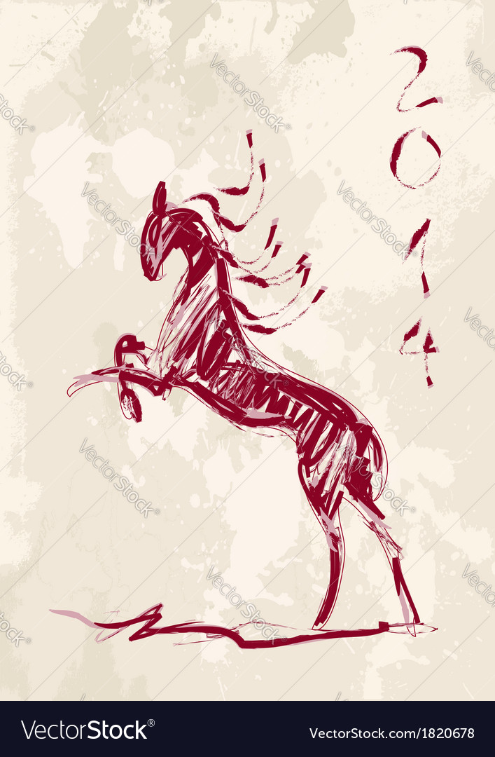 Chinese new year of the Horse brush style file vector image