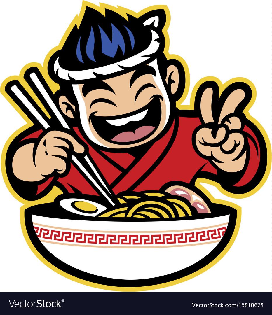 Japanese cartoon chef eating the ramen vector image