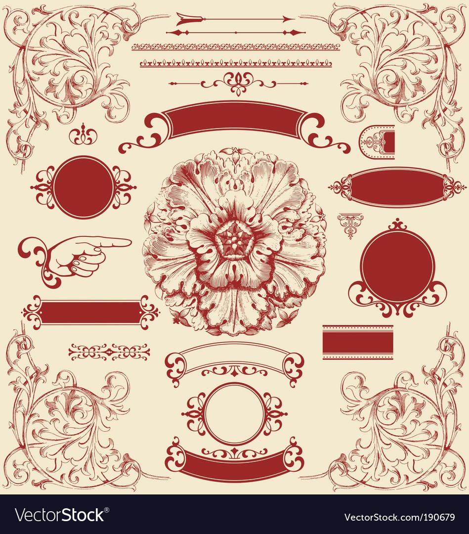 Antique design elements vector image