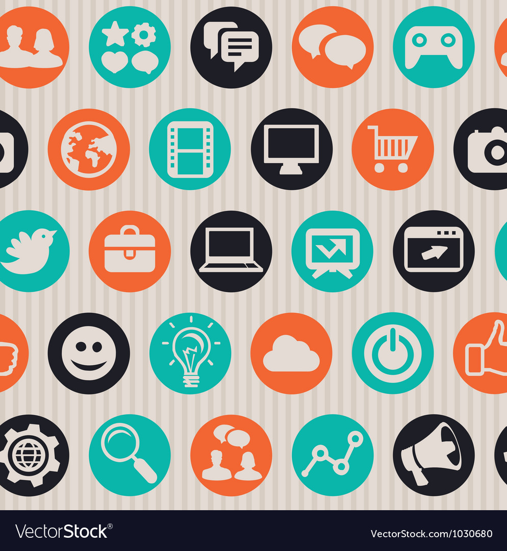 Seamless pattern with internet marketing icons vector image