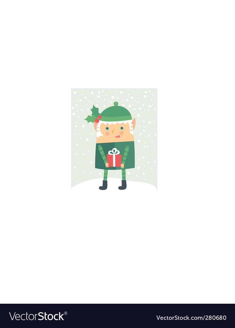 Cartoon Christmas elf vector image