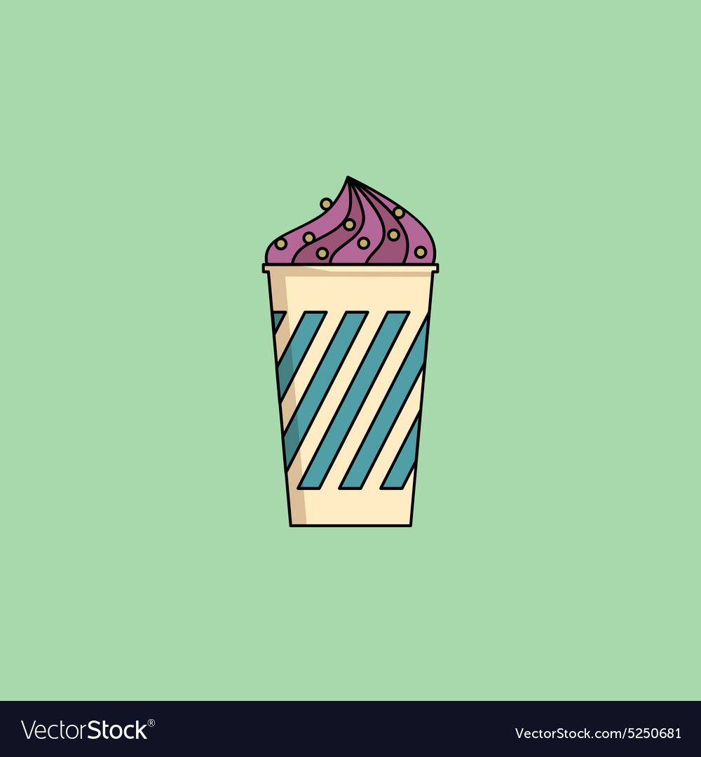 Blueberry Ice-cream in cup with sprinkling vector image