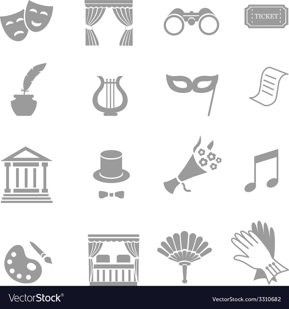 Theater acting icons set black vector image
