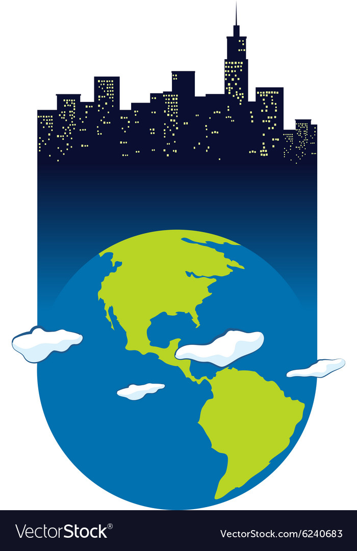 Earth and buildings with lights on vector image