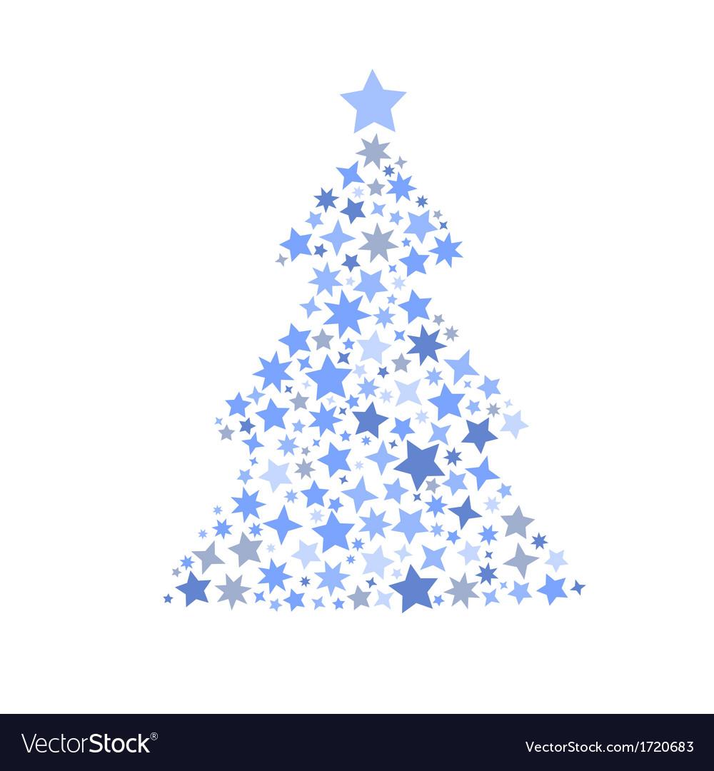 symbol silhouette of christmas tree stars vector image - Christmas Tree Star