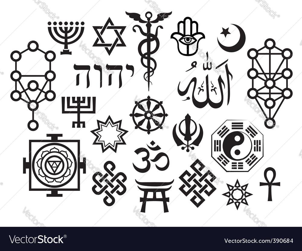 Oriental religious symbols vector image