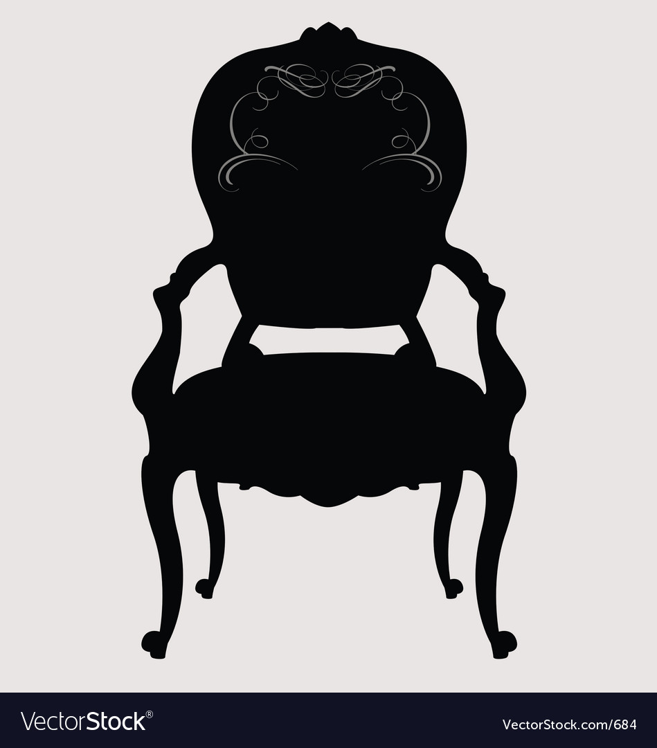 Antique chair silhouette - Antique Louis Style Chair Vector Image