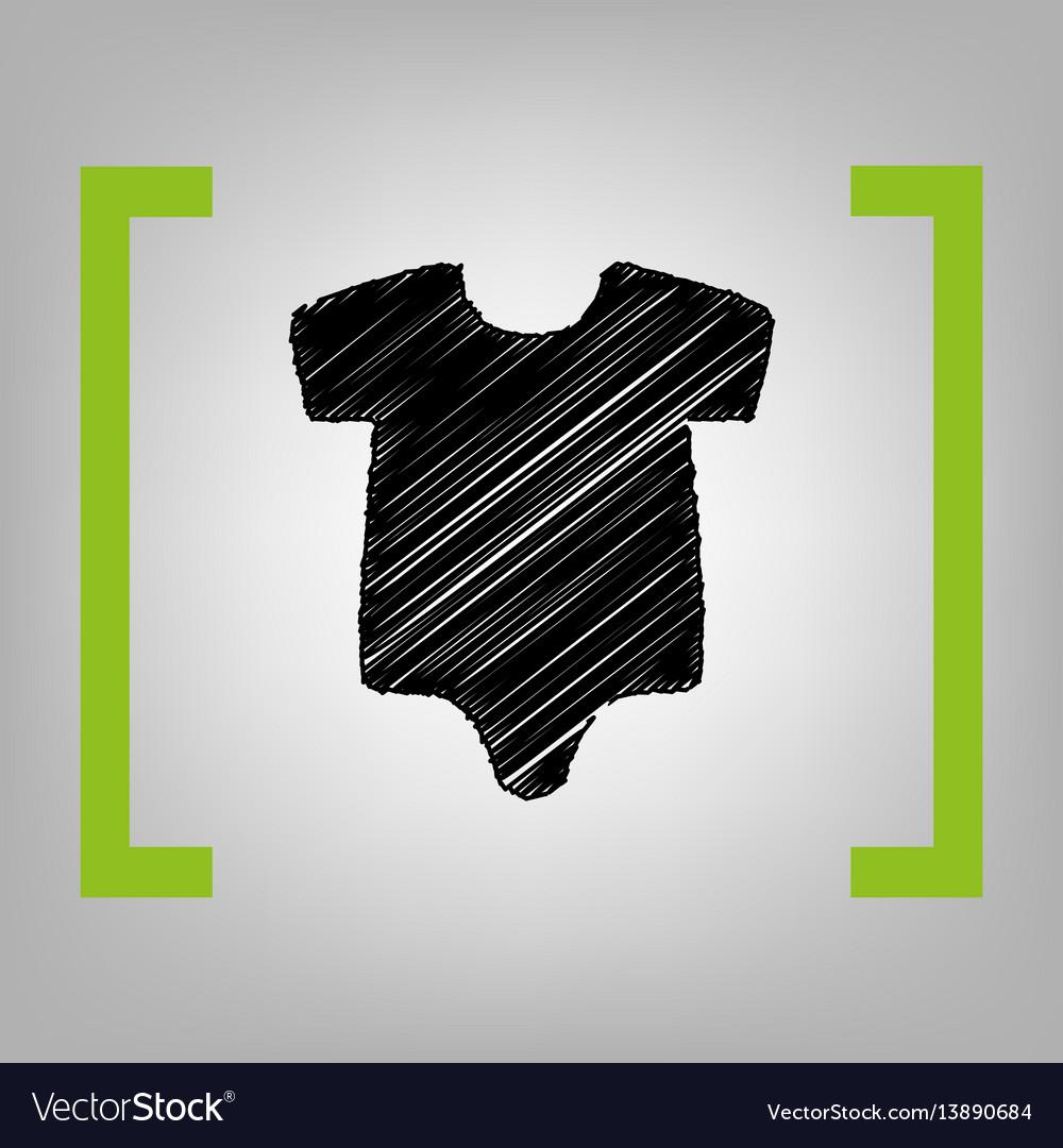 Baby cloth black scribble vector image