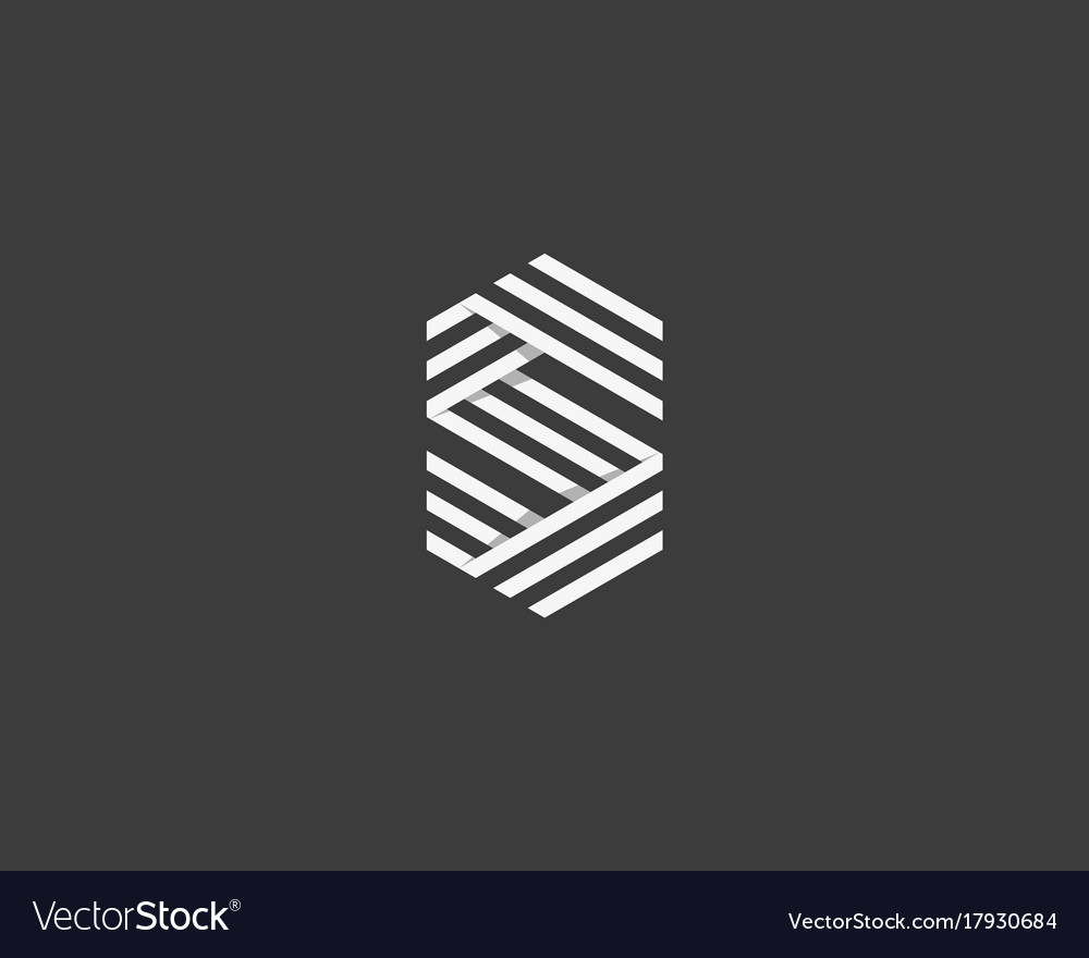 Line letter s logotype abstract geometric logo vector image
