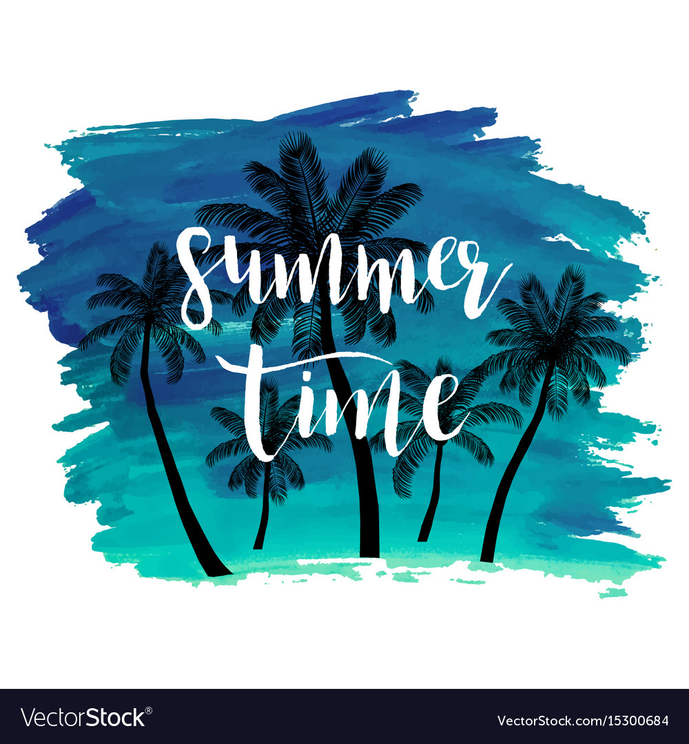 Summer watercolor background withpalm trees vector image